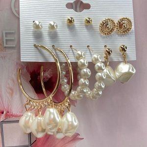 Amazing Set of Six Pair Faux Pearl Earrings